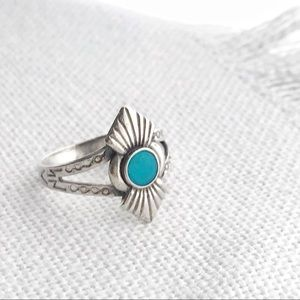 Vintage NATIVE Turquoise & Sterling Geometric Ring